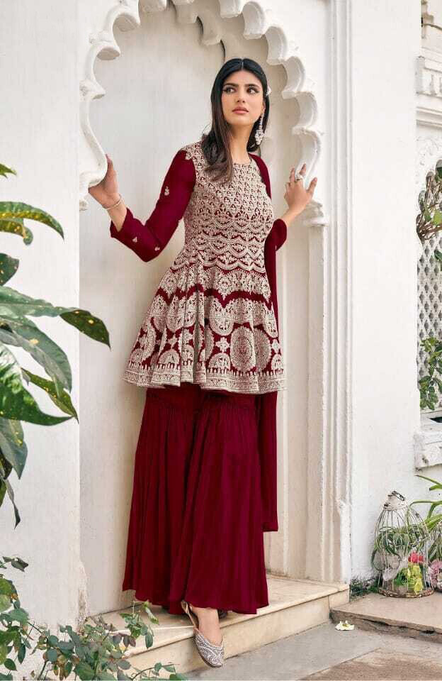 Heavy Blooming Georgette Embroidered Sharara Suit In Maroon
