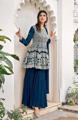 Heavy Blooming Georgette Embroidered Sharara Suit In Teal Blue