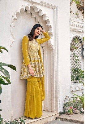 Heavy Blooming Georgette Embroidered Sharara Suit In Yellow