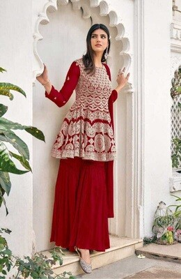 Heavy Blooming Georgette Embroidered Sharara Suit In Blood Red