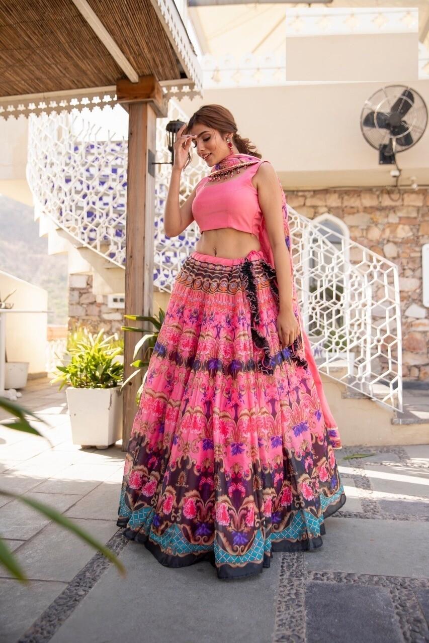 Chanderi Silk Digital Print Lehenga Choli In Pink