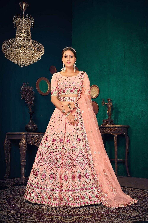Heavy Lehenga Choli With Multi Thread Gota Patti Embroidered In Pink