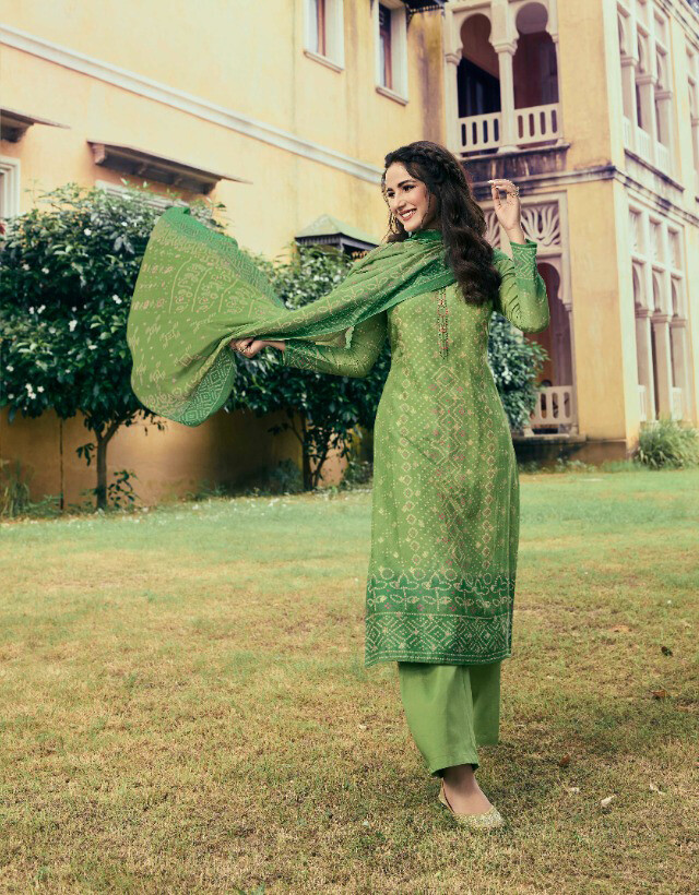 Casual Wear Cotton Silk Pant Suit With Print In Green