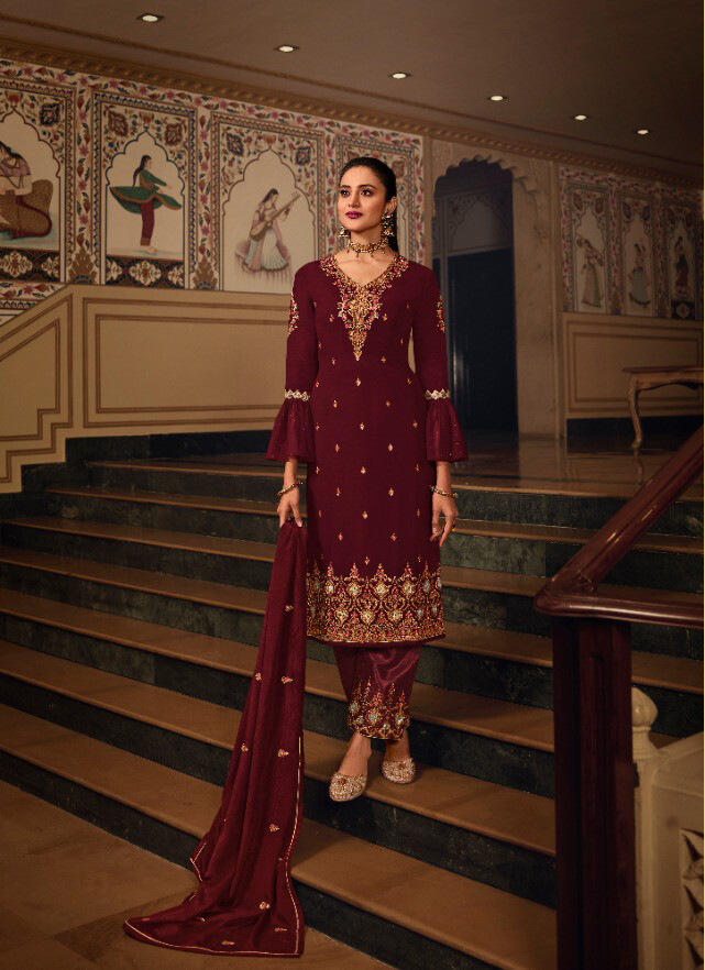 Heavy Pakistani Suit With Work In Maroon