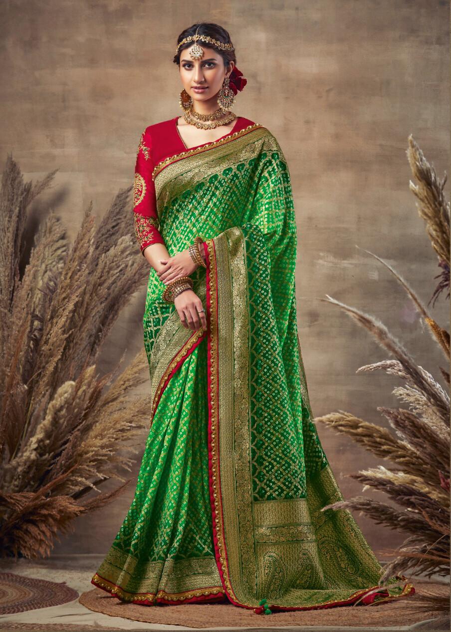 Bandhni Pure Soft Silk Saree With Rich Pallu  In Green