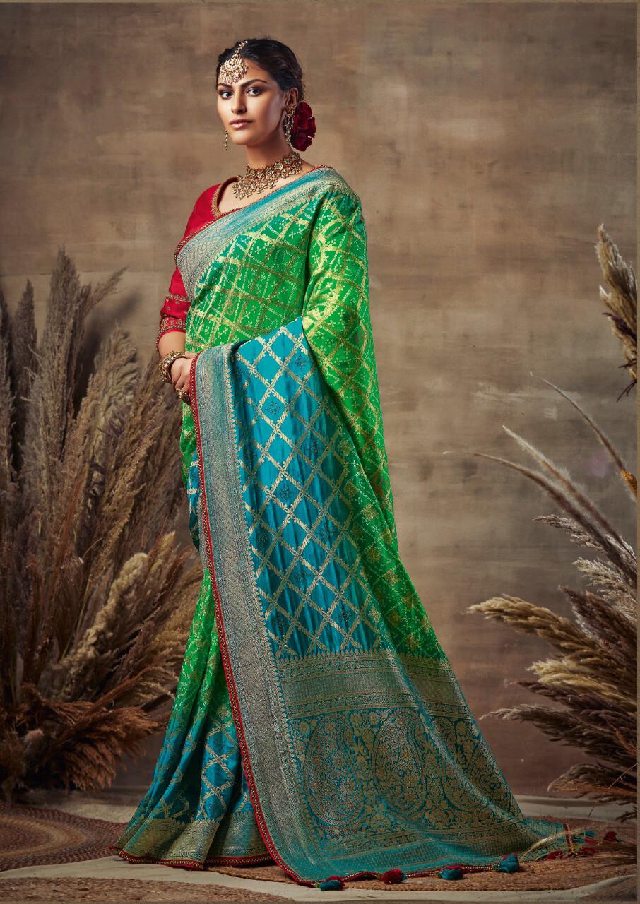 Bandhni Pure Soft Silk Saree With Rich Pallu  In Green Blue