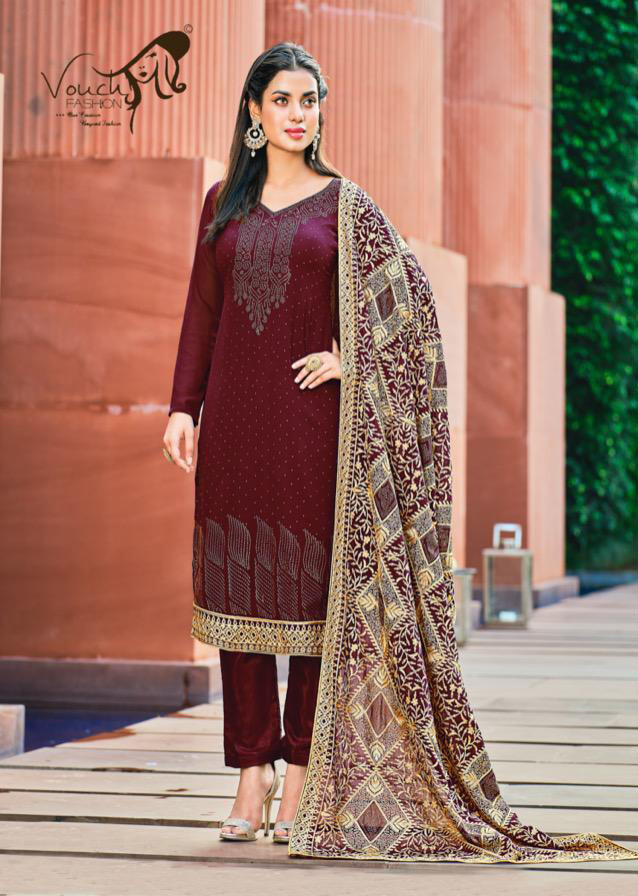 Chain Work With Masin Diamond Pant Suit Georgette In Maroon