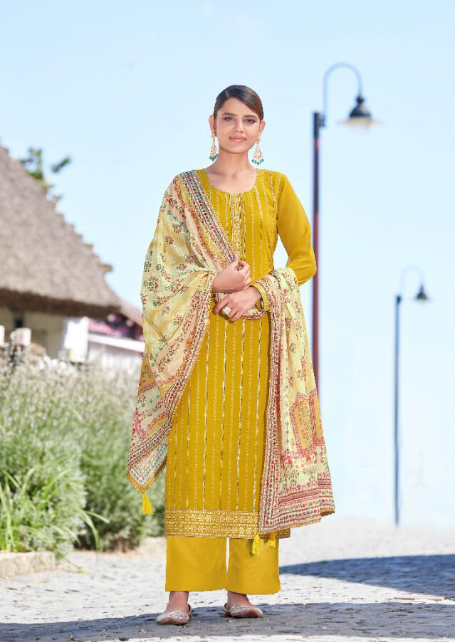 Georgette Plazzo Suit With Embroidery In Mustard Yellow