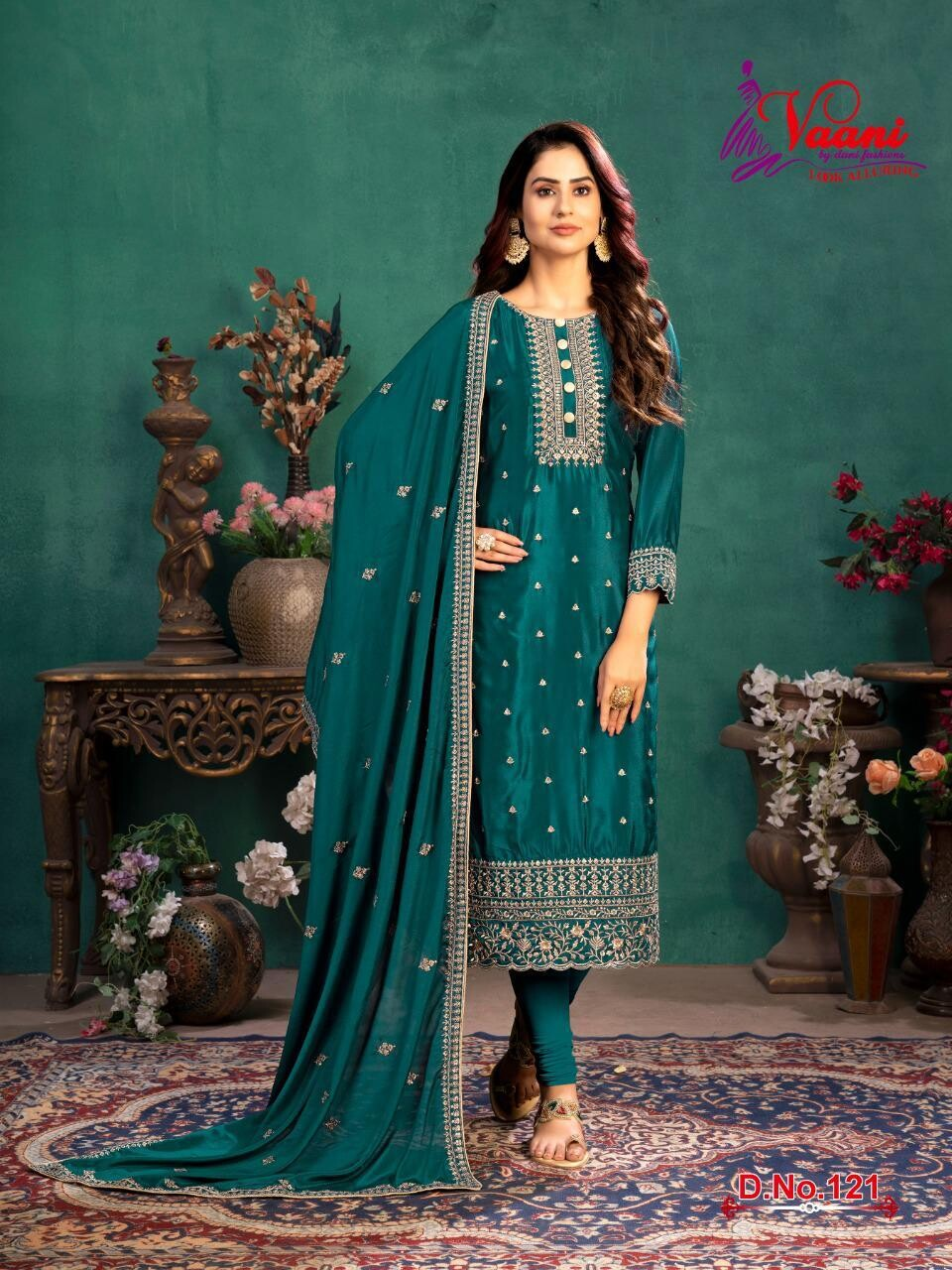 Festive Wear Churidar Suit With Embroidered In Teal Blue