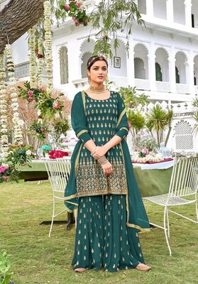 Sharara Suit For Wedding Wear In Heavy Georgette With Embroidery In Teal Blue