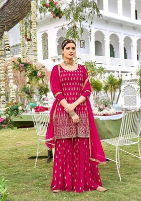 Sharara Suit For Wedding Wear In Heavy Georgette With Embroidery In Rani