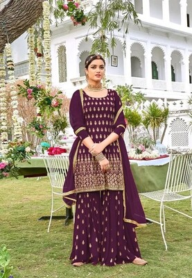 Sharara Suit For Wedding Wear In Heavy Georgette With Embroidery In Wine