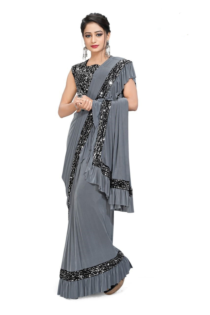 Ready To Wear Imported Lycra Saree In Grey