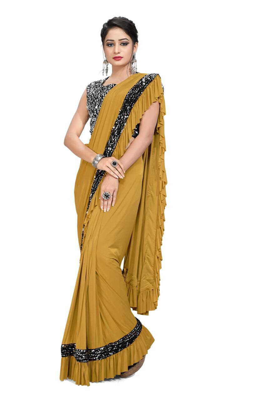 Ready To Wear Imported Lycra Saree In Mustard Yellow