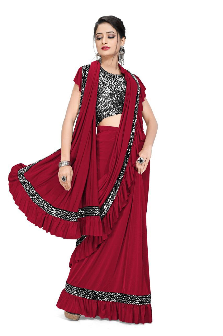 Ready To Wear Imported Lycra Saree In Red