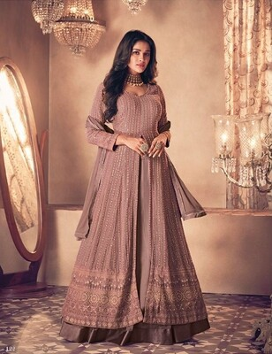 Diwali Special Anarkali Lehenga With Heavy Embroidery In Onion Pink