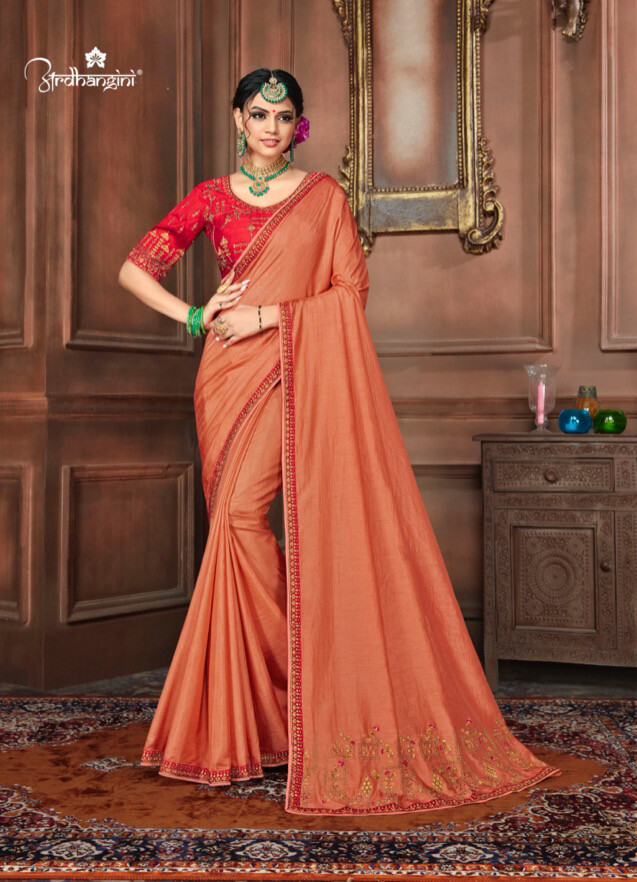 Diwali Special Saree With Embroidered Dola Silk In Orange