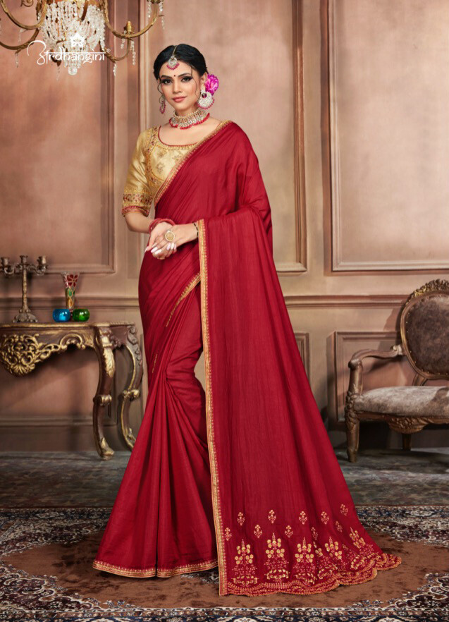 Diwali Special Saree With Embroidered Dola Silk In Red