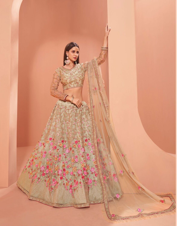 Bridal Wear Heavy Net Lehenga Choli With Zari And Thread Embroidered In Pista Green