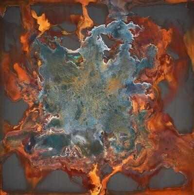 """Celite, 48x48x2,"""" mineral on panel, 2016"""