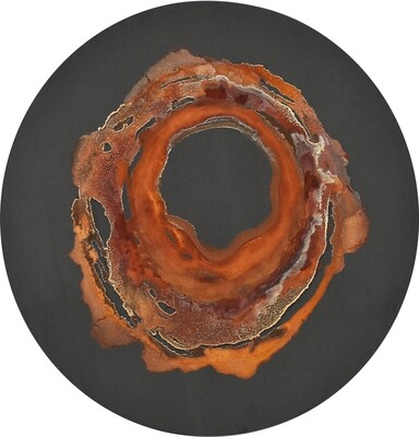 """Cosm I, mineral on panel, 24dx2,"""" 2020"""
