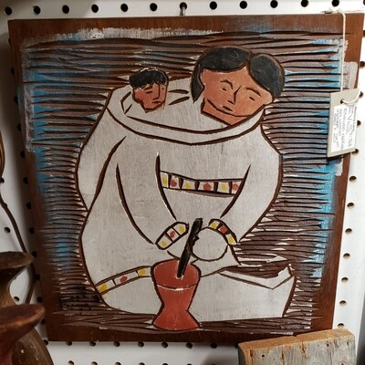 Eskimo carving on wood - mother & Baby