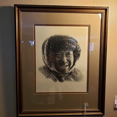 Portrait of Inuit Man - Lorenzo Franchetti - charcoal