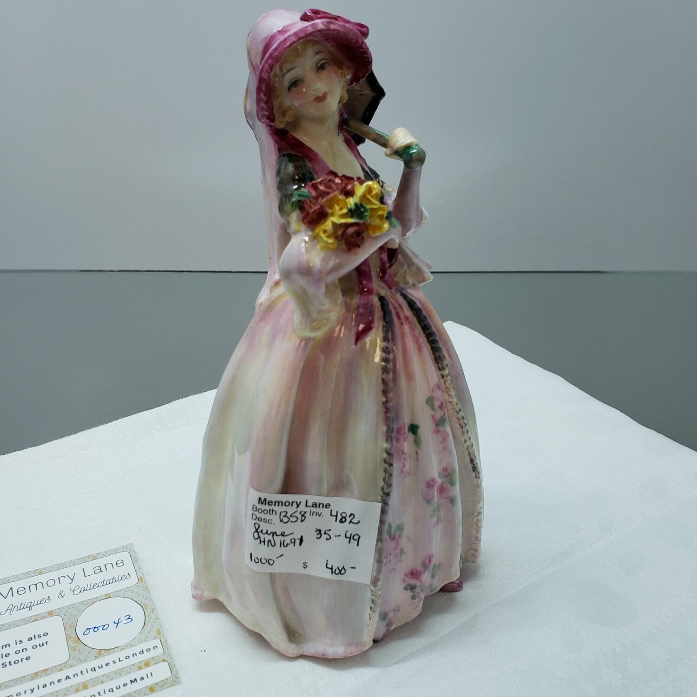 """Vintage Royal Doulton English Porcelain Figurine ~ """"June"""" ~ HN 1691"""