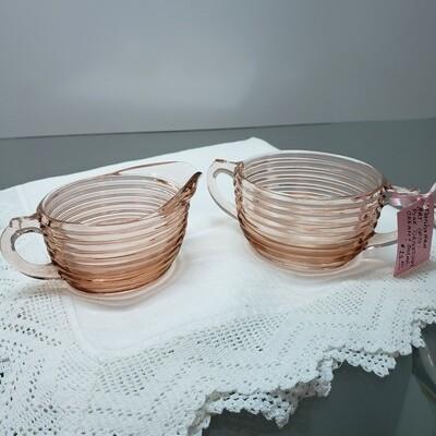 Pink Depression glass Cream & Sugar