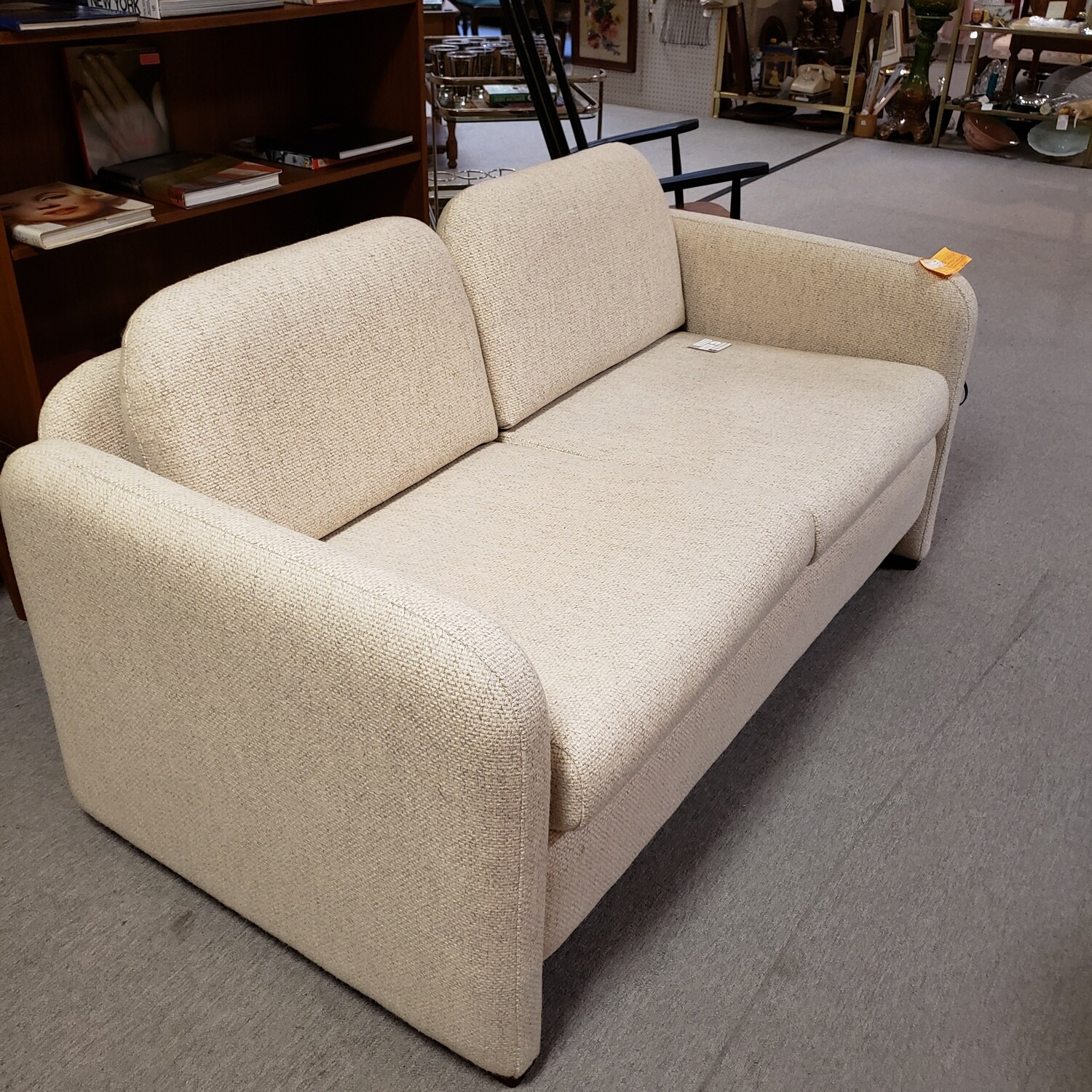 Mid Century Modern Cream, Wool Love Seat and matching chair