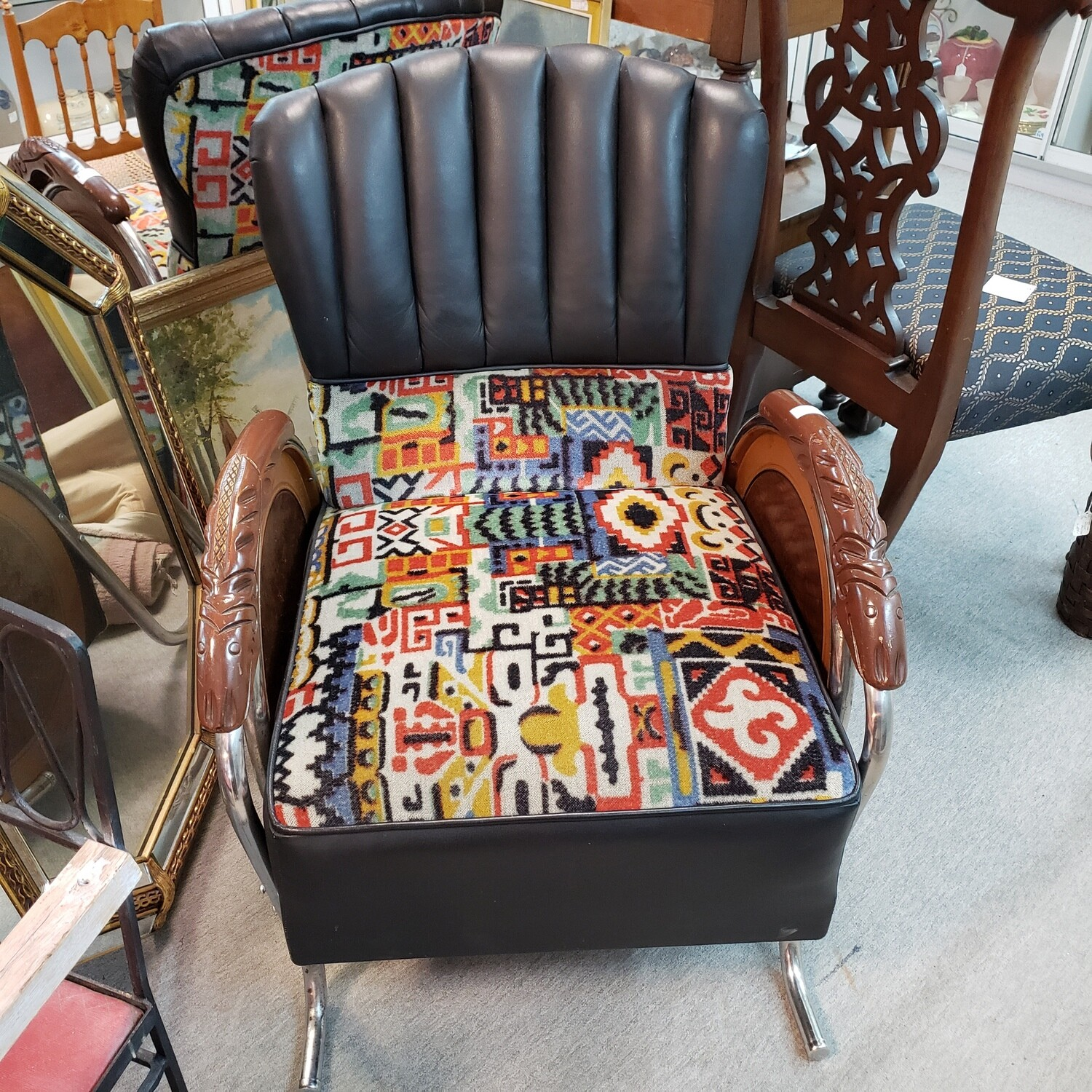 Pair of Unusual, Beautiful Art Deco Chairs - Leather, Fabric and Wood