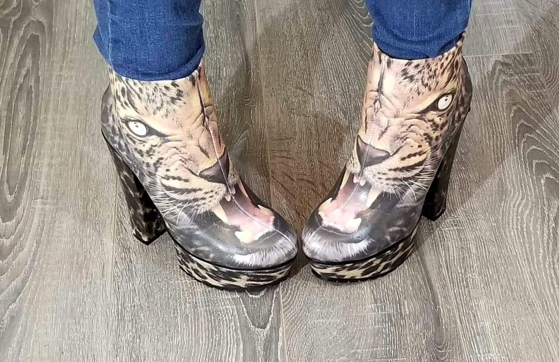 Vegan Leather Leopard Boots
