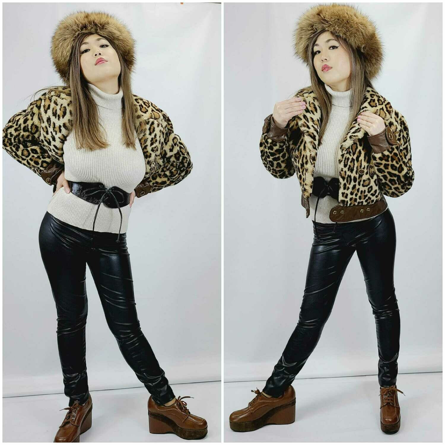 Late 60s- Early 70s Faux Leopard & Leather Bomber