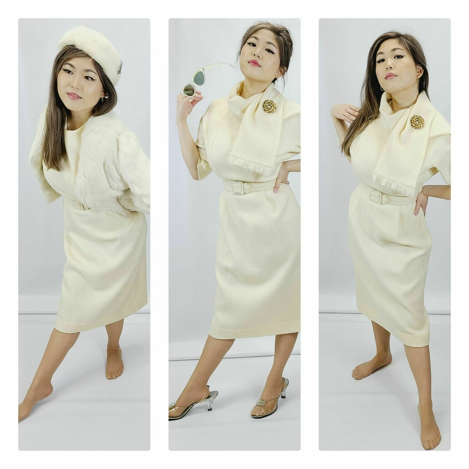 Late 1950s Early 1960s 3pc Knit Day Dress