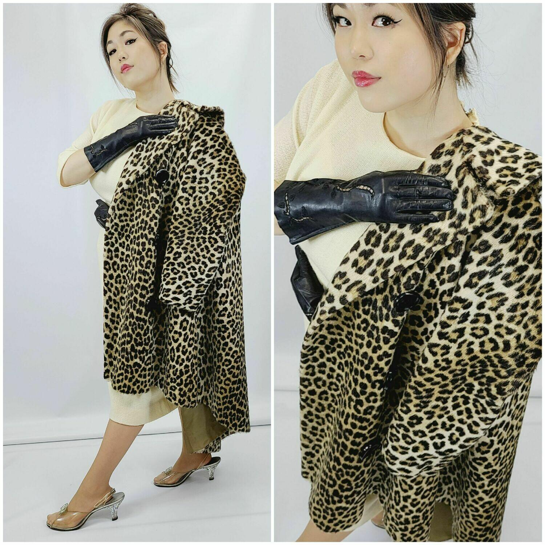 Late 1950s Faux Leopard Fur Coat