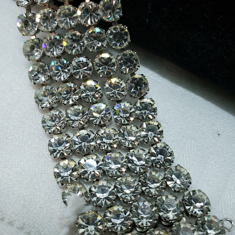 Stunning 5 row rhinestone bracelet with safety chain
