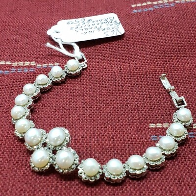Genuine pearl and Marcasite bracelet in sterling silver