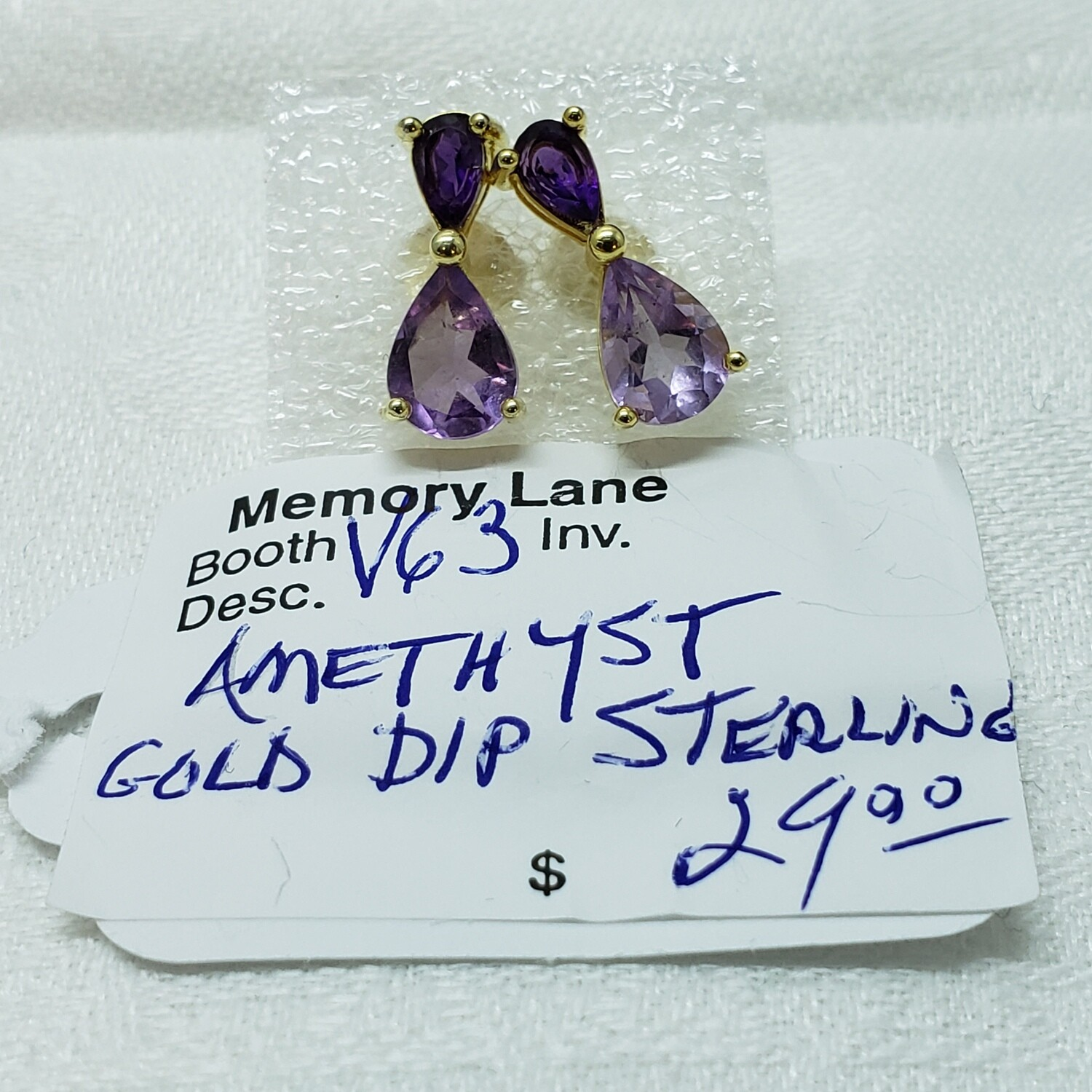 Pearl Shaped Amethyst Earrings set in gold plated silver