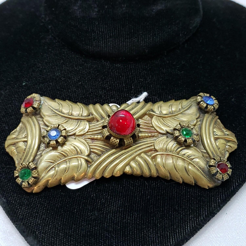 Victorian brooch made of pressed brass V63