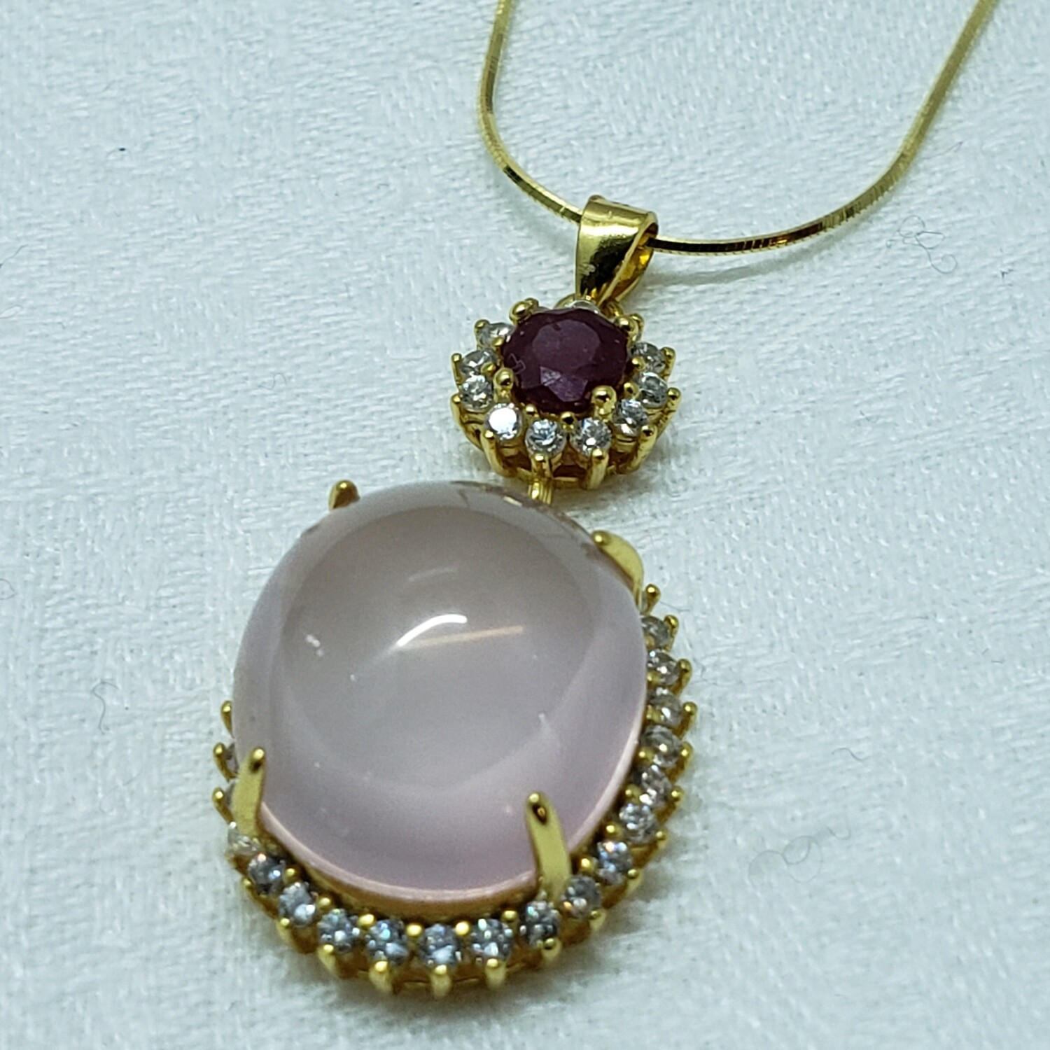 Gold plated sterling necklace with genuine ruby