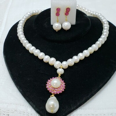 Genuine Pearl and Ruby necklace and earrings drop