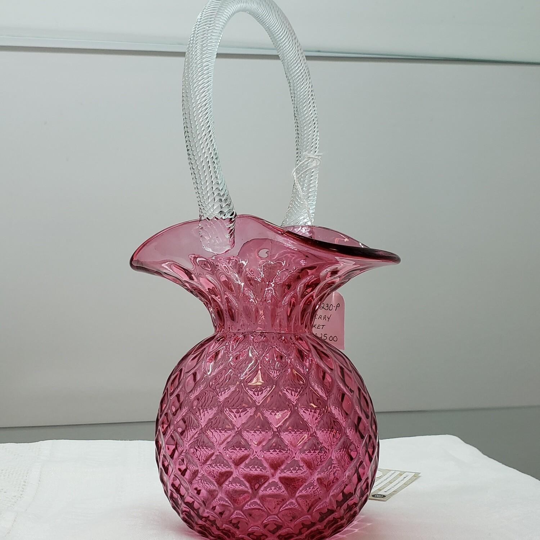 Cranberry Glass glass Basket - handblown