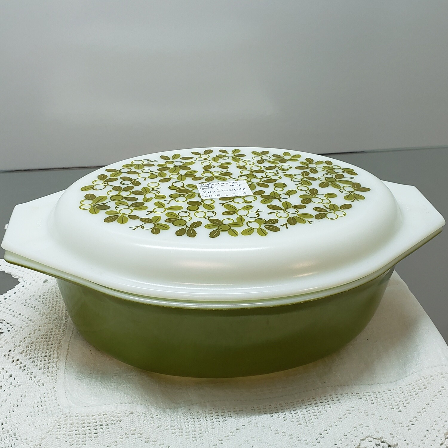 Oval White with Green Flowers Pyrex Casserole dish with lid