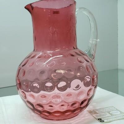 Cranberry Glass Pitcher - handblown