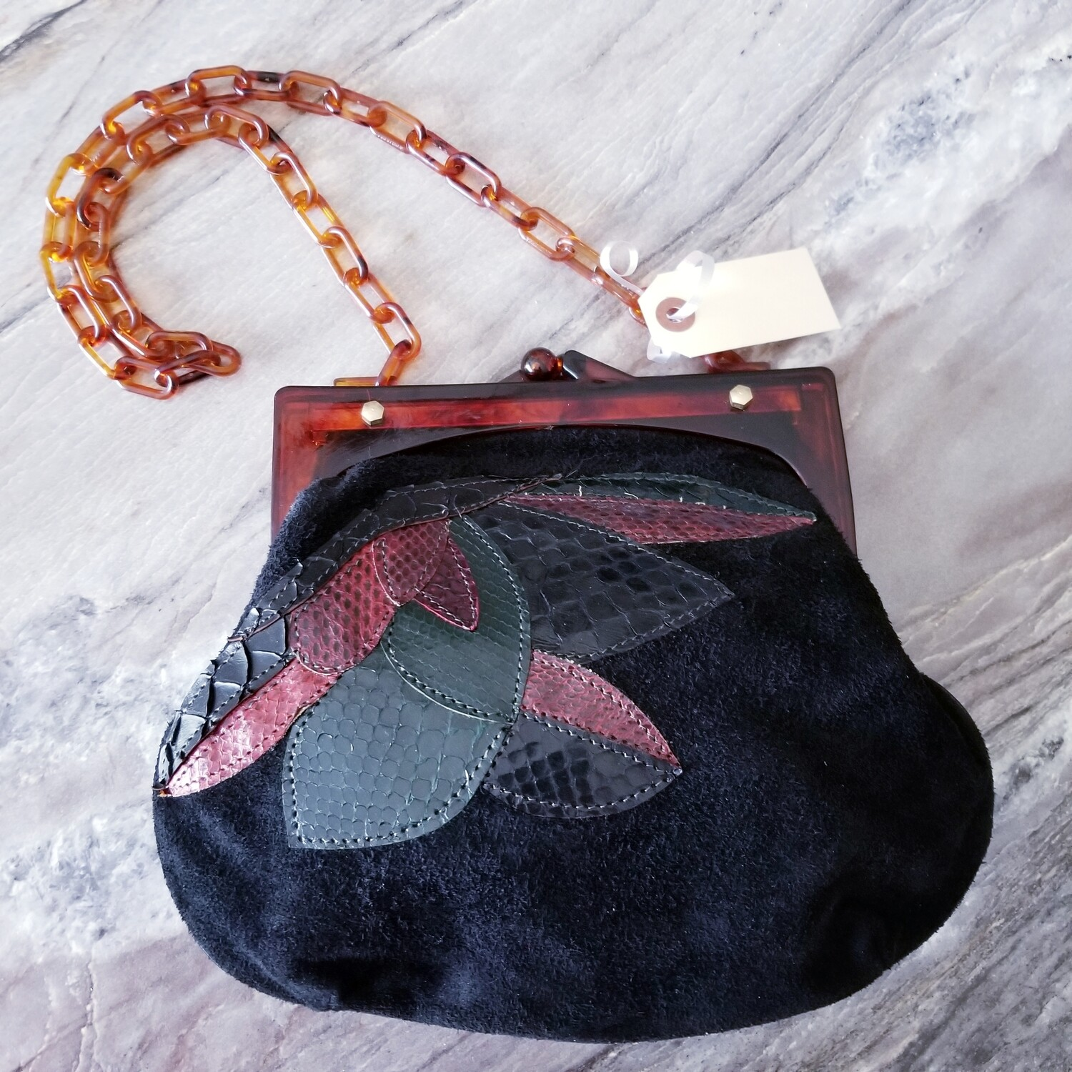 1970s  does 30s - Leather- Suede- Lucite Purse