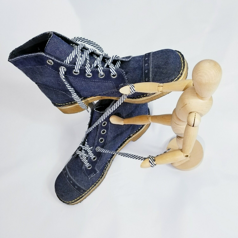 MID 1970s DEADSTOCK Crepe Sole Denim Desert Boots