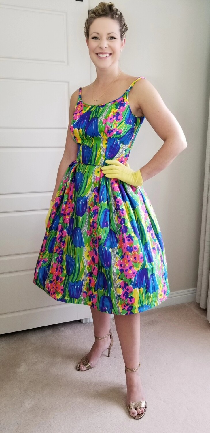 Late 50s - Early 60s Water Colour Silk Dress
