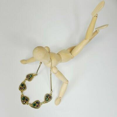 Garnet Colour Rhinestone Choker - Necklace