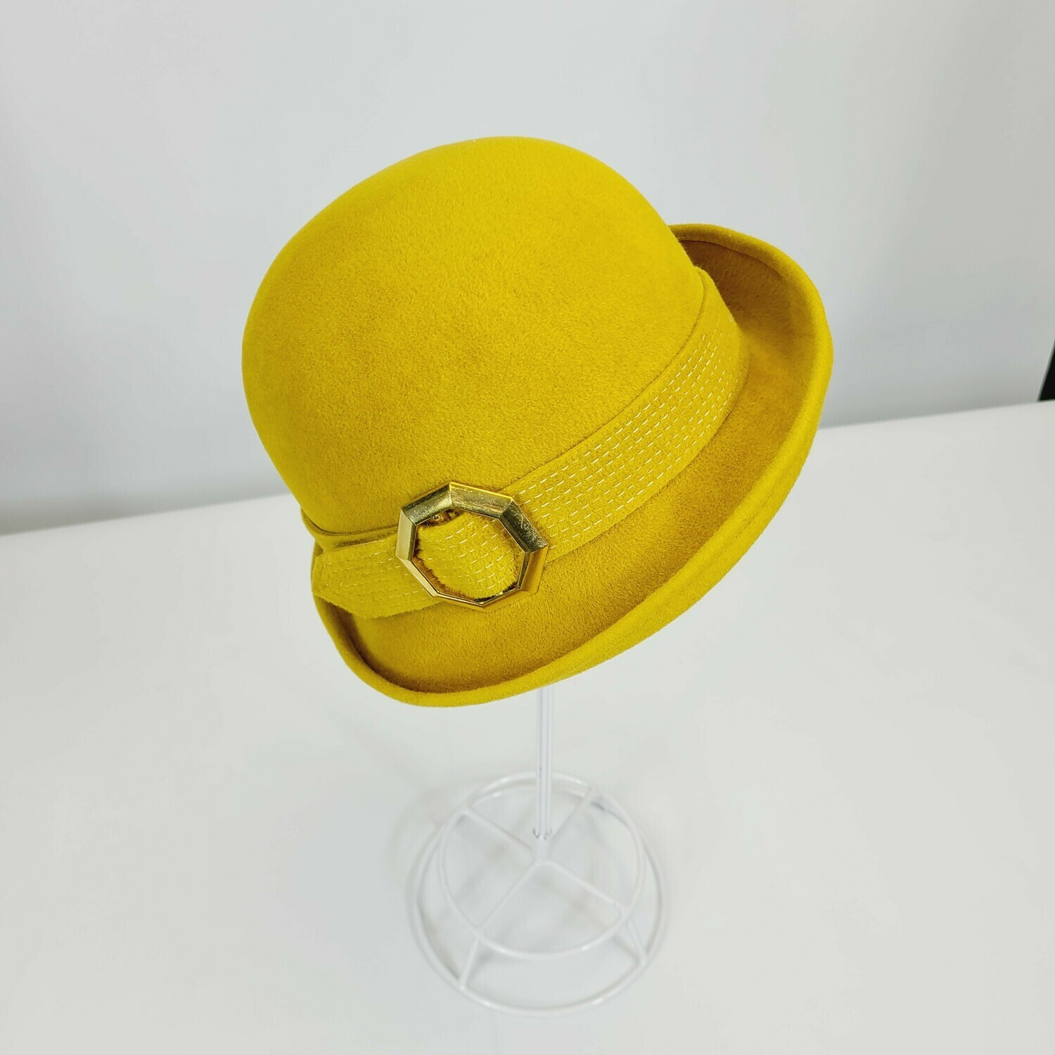 Mid - Late 1960s DEADSTOCK Mustard - Buckle Modified Bowler Hat