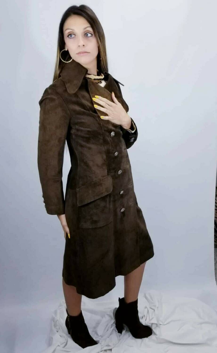 Late 1960s - Early 1970s  Coco Soft Suede Snap Front Trench Coat